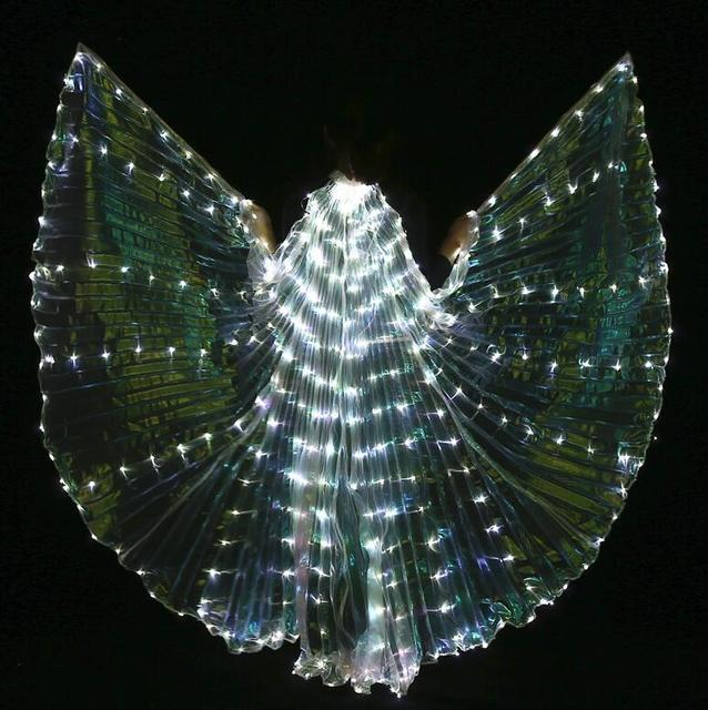 Women White Costume Angel LED Isis Wing With Sticks  Golden Colorful Bellydance Costume Accessory 360 Open Free Shipping