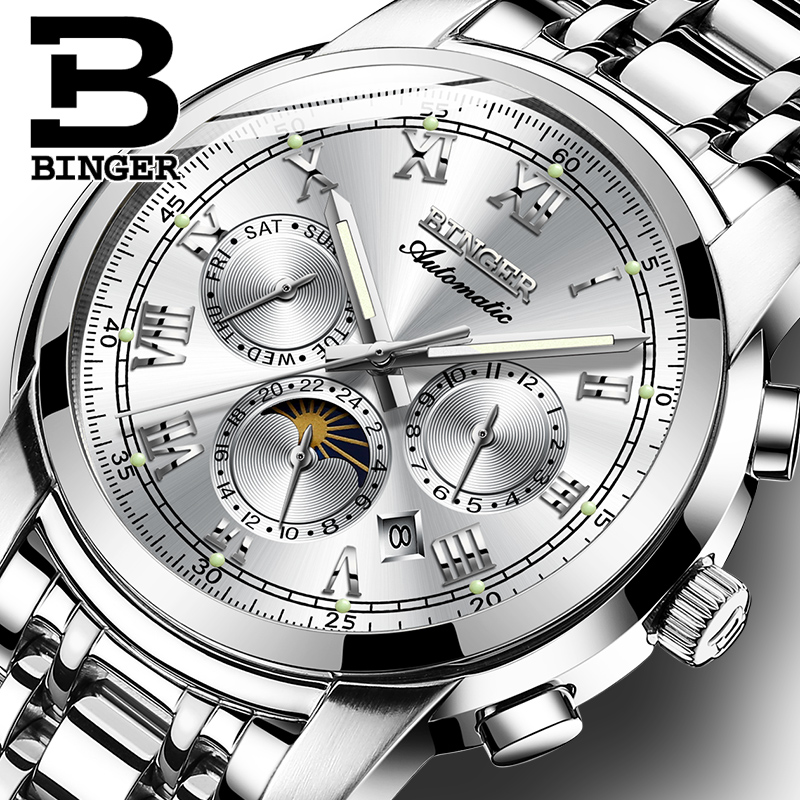 Sapphire Clock Waterproof Relogio Masculino Switzerland Automatic Mechanical Watch Men Binger Luxury Brand Mens Watches B1178