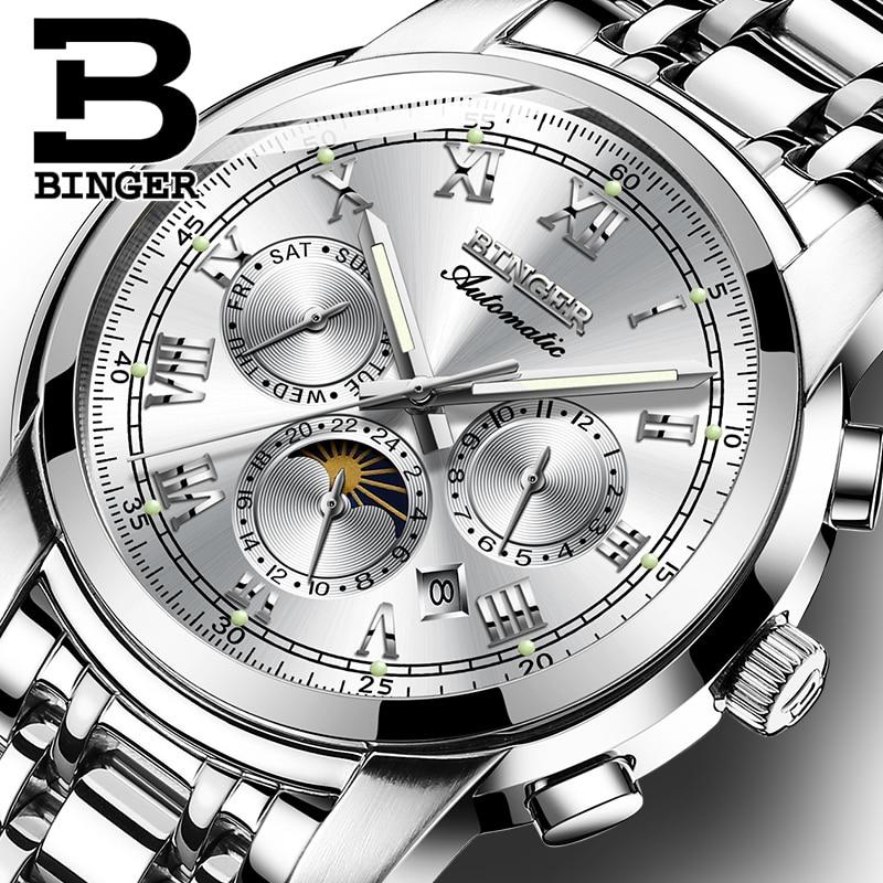 663aac701dd Relógio de safira À Prova D  Água Relogio masculino de Luxo Da Marca Suíça  Binger Relógio Mecânico Automático Dos Homens Mens Relógios B1178 4 em  Relógios ...