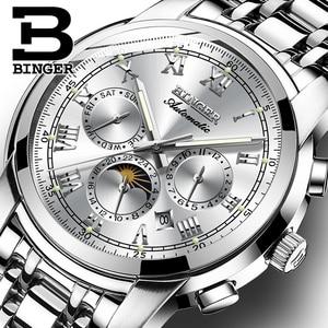 Image 1 - ספיר שעון עמיד למים Relogio Masculino שוויץ אוטומטי מכאני שעון גברים Binger יוקרה מותג Mens שעונים B1178 4