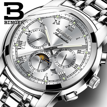 Sapphire Clock Waterproof Relogio Masculino Switzerland Automatic Mechanical Watch Men Binger Luxury Brand Mens Watches B1178-4 top luxury men automatic mechanical watch brand original binger watches self wind sapphire ceramic wristwatch 24 hours display