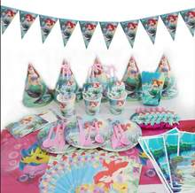 Shower little mermaid theme cutlery set girl like tablecloth hat decoration birthday party decoration kids(China)