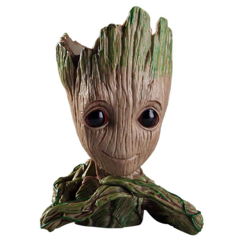 2 Baby Groot Figure Flowerpot Pen Pot Kids Toy Gift Guardians of The Galaxy Vol