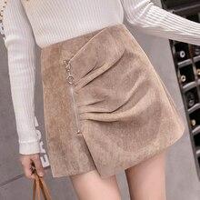 Pantalones cortos irregulares para mujer camisas elegantes de cintura alta para  mujer de otoño invierno negro caqui pantalones c. 1b96e9c694b1