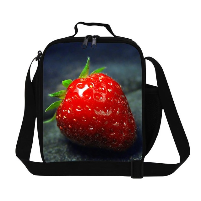 6550f67adfd7 Cute strawberries 3D Print lunch bag for girls