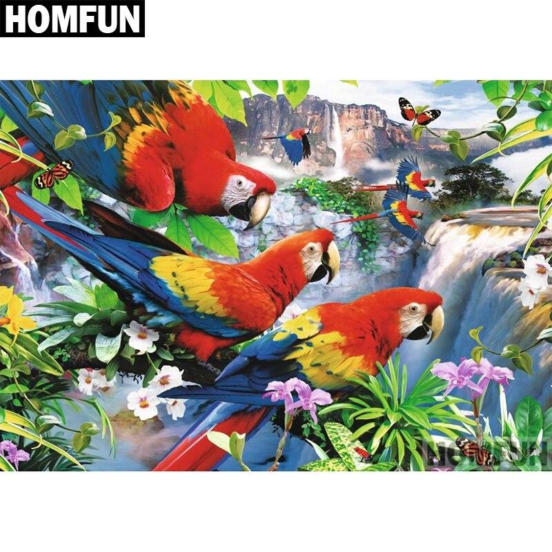 Straightforward Homfun Full Square/round Drill 5d Diy Diamond Painting parrot Waterfall Embroidery Cross Stitch 5d Home Decor Gift A04029 Diamond Painting Cross Stitch Needle Arts & Crafts