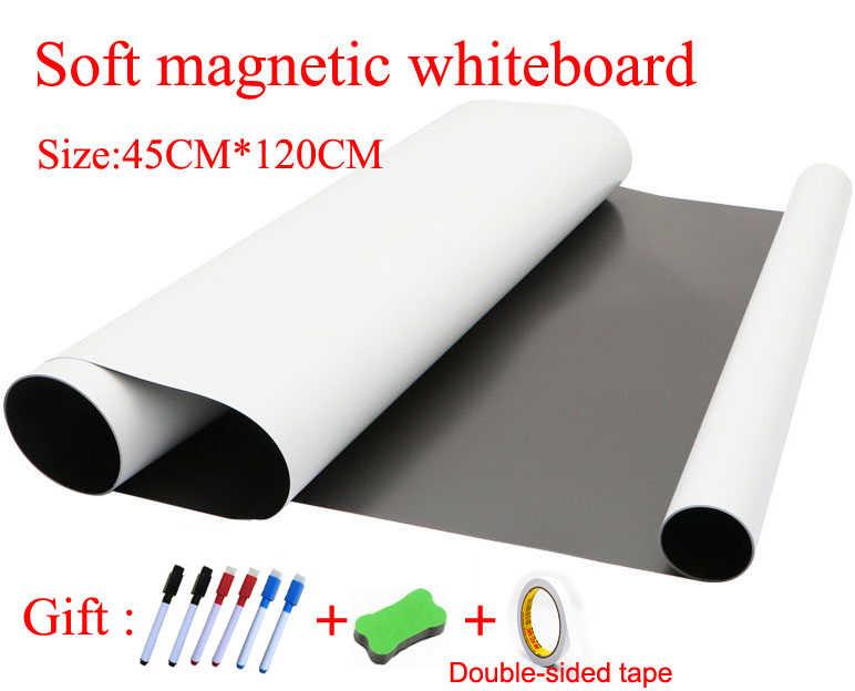 Гибкая мягкая магнитная доска, магниты на холодильник для детей, домашний офис, доска для сухого стирания, размер 45 см x 120 см, Подарочная Двусторонняя лента