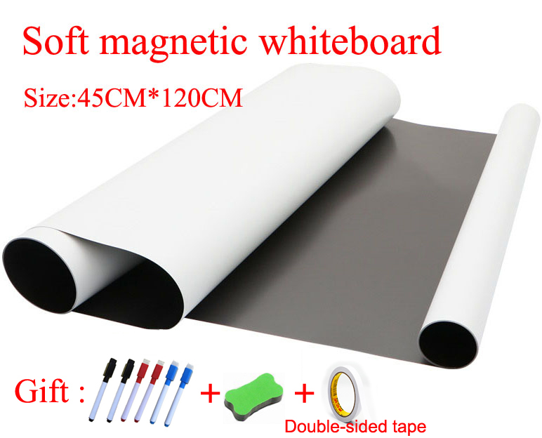 Flexible Soft Magnetic Whiteboard Fridge Magnets For Kids Home Office Dry-erase Board Size 45CMx120CM Gift Double-sided Tape