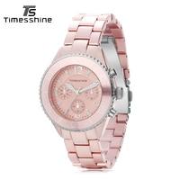 Timesshine Women Watches Quartz Watch Brand Fashion Dress Ladies Casual Sports Wristwatch Stainless Steel Strap Red