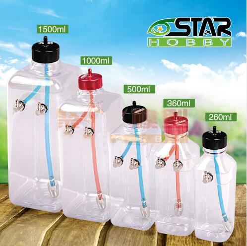 6STARHOBBY 260ml/360ml/500ml/1000ml/1500ml Transparent Fuel Tank for 26-40CC Gasoline / Nitro Airplanes image