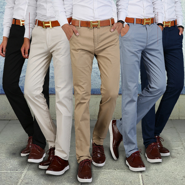 c775f3bcf7c2 Fashion Men Business Casual Pants Cotton Slim Straight Trousers Spring  Summer Long Pants -MX8 2018 Autumn Winter New Casual Pant