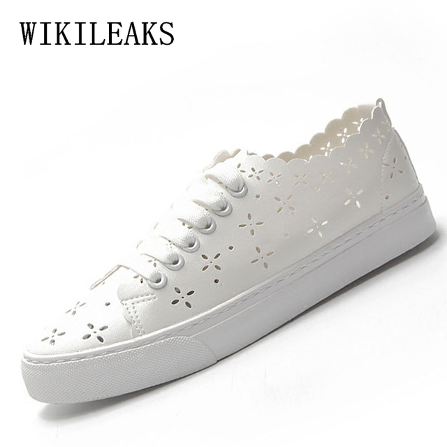 298a85f34f3 Da mulher sapatos moda 2019 designer Oco Out branco tênis de Couro das mulheres  sapatos casuais