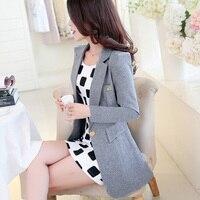 2017 Summer Women Blazer Feminino Solid Regular Length Casual Coats Female Full Sleeve Cotton Comfortable Outerwear