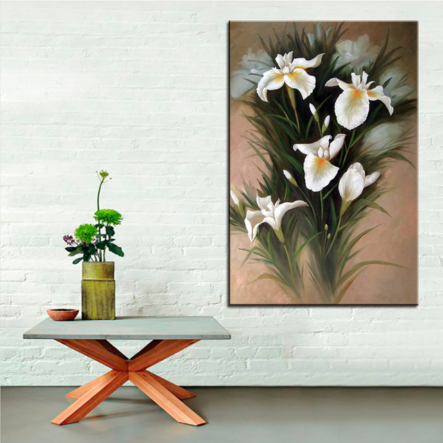 Wall Art, Wall Decor, Wall flower Painting A bouquet of white bamboo ...