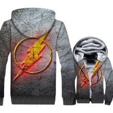 The Flash Jacket Men Super Hero Hoodie Harajuku Hooded Sweatshirt 2018 New Brand Winter Thick Fleece Warm Zipper 3D Print Coat
