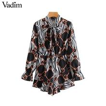 Vadim bow tie collar chains print playsuits long sleeve elastic waist pockets rompers vintage female casual