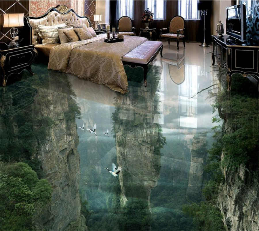 Beibehang Custom Floor Horizon Wonderland Cliffs Living Room Bathroom 3D Floor Tile Floor Painting Room Bathroom 3D Floor Photo