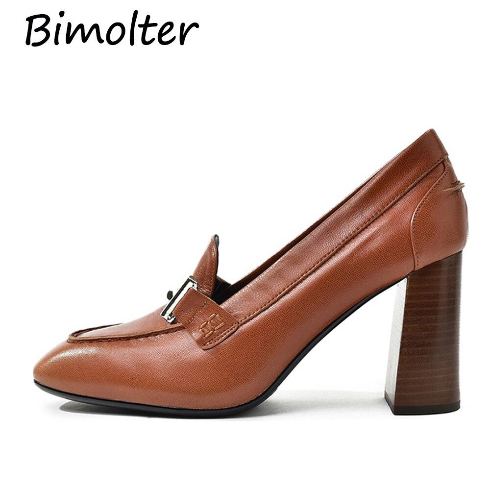 384798bda6 Bimolter Sheepskin Women Pumps Thick High Heels Women Shoes Mid Heels Dress  Work Pumps Office Comfortable