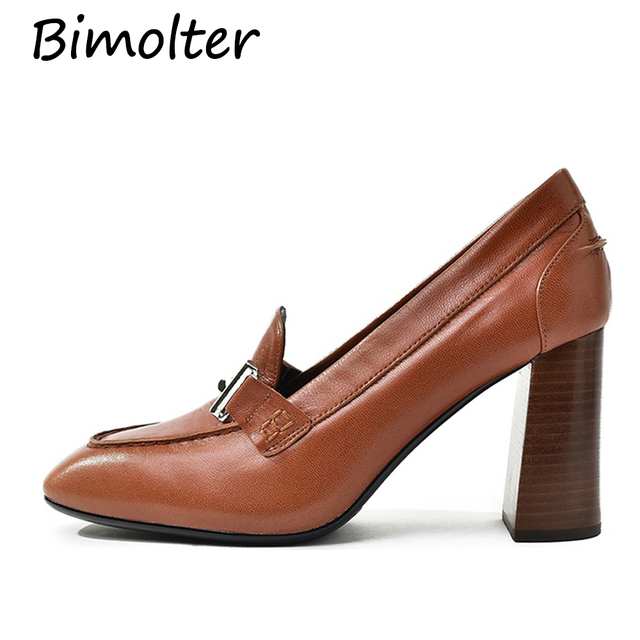 Bimolter Sheepskin Women Pumps Thick High Heels Women Shoes Mid Heels Dress Work Pumps Office Comfortable Ladies Shoes NA028