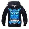 Inverno crianças clothing 1 pc pokemon go roupas hoodies moletom com capuz menino outwear menino t camisas dos miúdos clothing tee meninos outwear