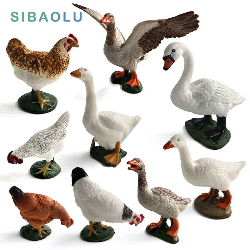 Simulation Swan Chicken Hens Duck Goose Geese Farm animal model figurines toy miniature garden home decoration accessories Decor