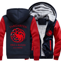 2018 Winter Thick Warm Hooded Men Women Game Of Thrones Targaryen Fire Blood Dragon Men Sweatshirt