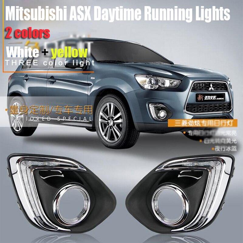 ФОТО Hireno Car DRL Waterproof ABS 12V Daytime Running Lights for  Mitsubishi ASX 2013-15 Fog lamp 2PCS