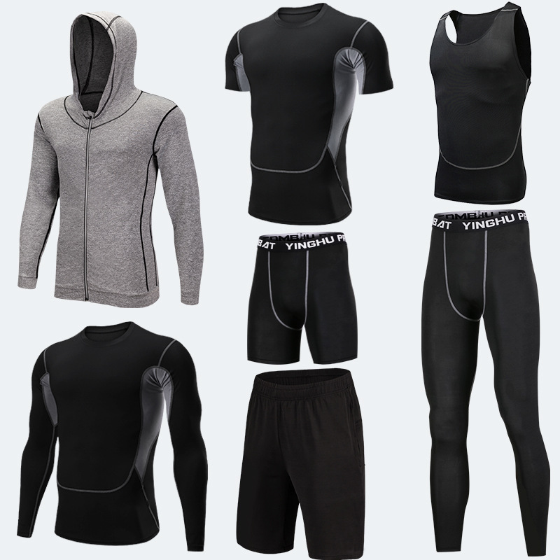 Running Training Clothes Men 7PCS/SETS Compression Running Sets Basketball Jogging Tights Underwear Set Gym Fitness Sports Suits 2018 sports suits men quick dry running jogging sets male workout fitness tights basketball training gym suits sportswear 5pcs