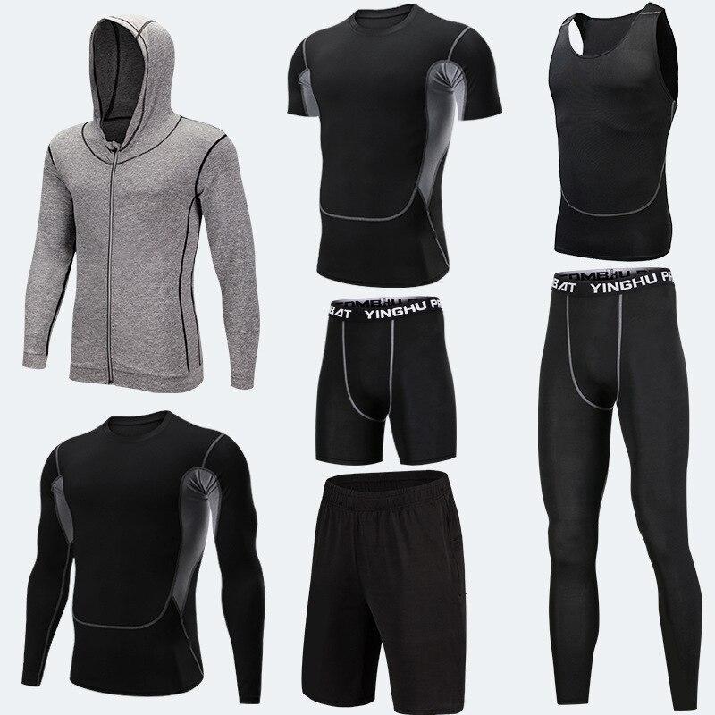 Vêtements d'entraînement en cours d'exécution hommes 7 pièces/ensembles ensembles de course à Compression collants de Jogging de basket-ball ensemble de sous-vêtements - 4