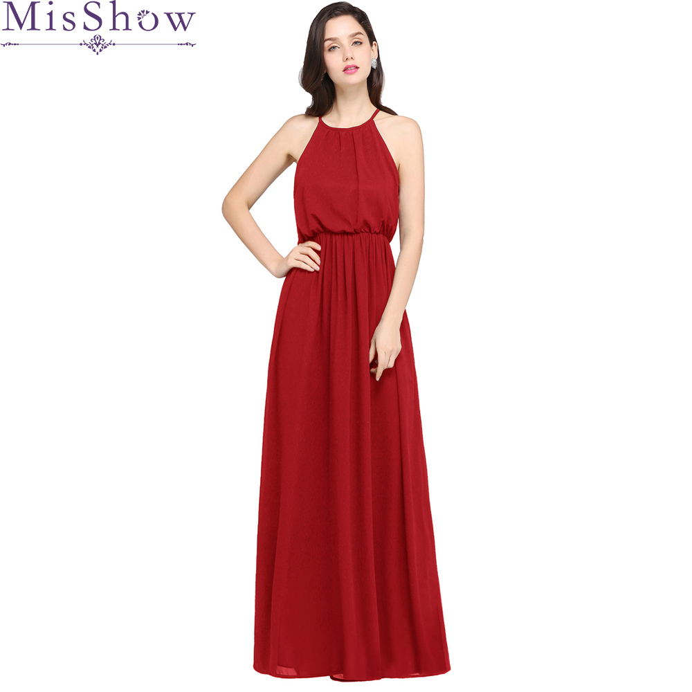 Cheap Women Elegant Sexy Long Burgundy   Bridesmaid     Dresses   2019 New Chiffon halter Simple Formal Wedding Party   Bridesmaid     Dress