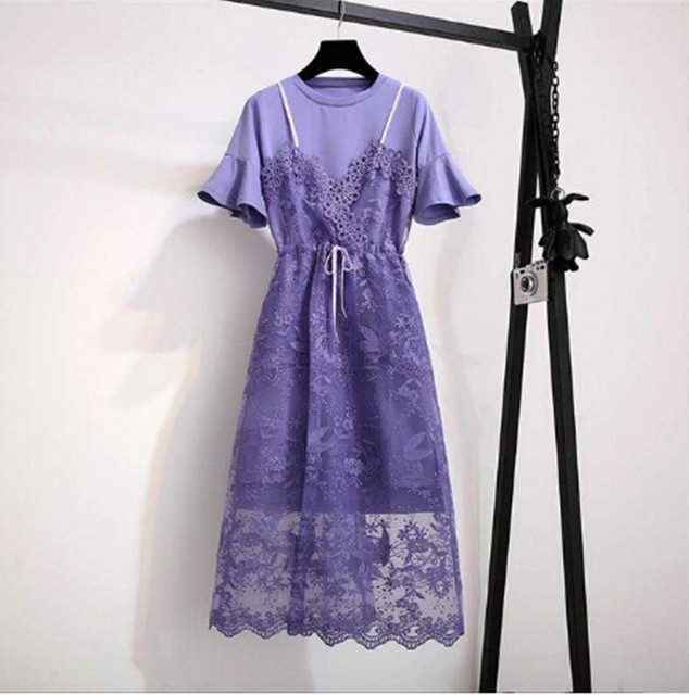 Women \'s Summer New Two piece plus size Dresses Set 2019 Fashion ...