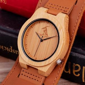 Image 2 - Reloj masculino BOBO BIRD Bamboo para hombre, reloj de madera, relojes de cuarzo, logotipo personalizado, se acepta Envío Directo