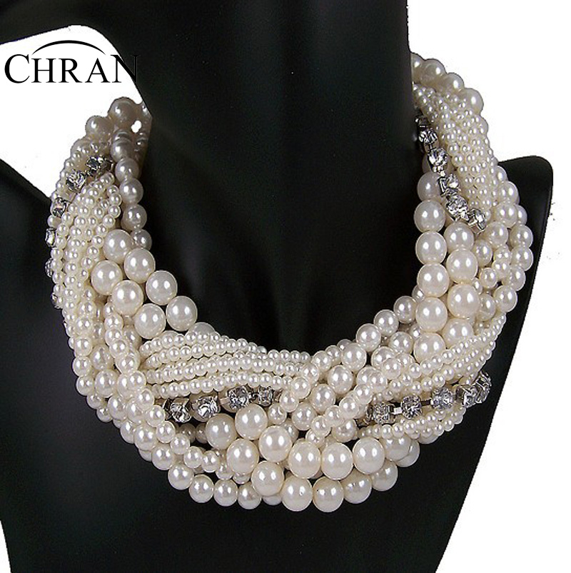 Chran New Fashion Luxury Vintage Style Jewellery Multi Layer String Twist Faux Pearl Choker Necklaces&Pendants Gifts faux pearl detail glitter choker