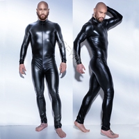 2017 New Super Cool Sexy Men Black Patent Leather Jumpsuit Vinyl Latex Bondage Catsuit Zip Wetlook
