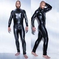 2017 New Super Cool Sexy Men Black Patent Leather Jumpsuit Vinyl Latex Bondage Catsuit Zip Wetlook Leotard Bodysuit Size M-XXXL
