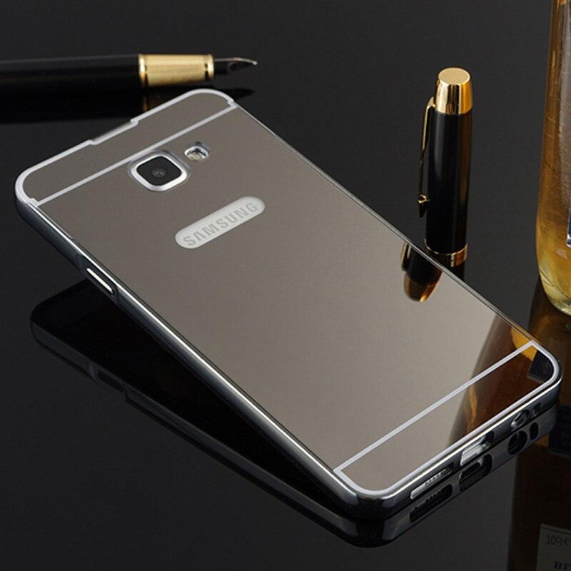 b74f389bbc6 Para hoesje Samsung A5 2017 caso aluminio metal parachoques Marcos acrílico  espejo de la contraportada caso de teléfono para Samsung Galaxy A5 2017  a520 en ...