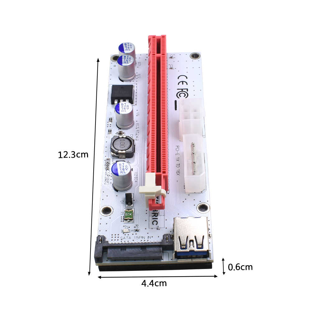 TISHRIC VER008S Molex 4Pin SATA 6PIN PCI Express PCIE PCI-E Yükseltici Kartı 008 s 008 Adaptörü 1X to 16X USB3.0 genişletici Madencilik Madenci