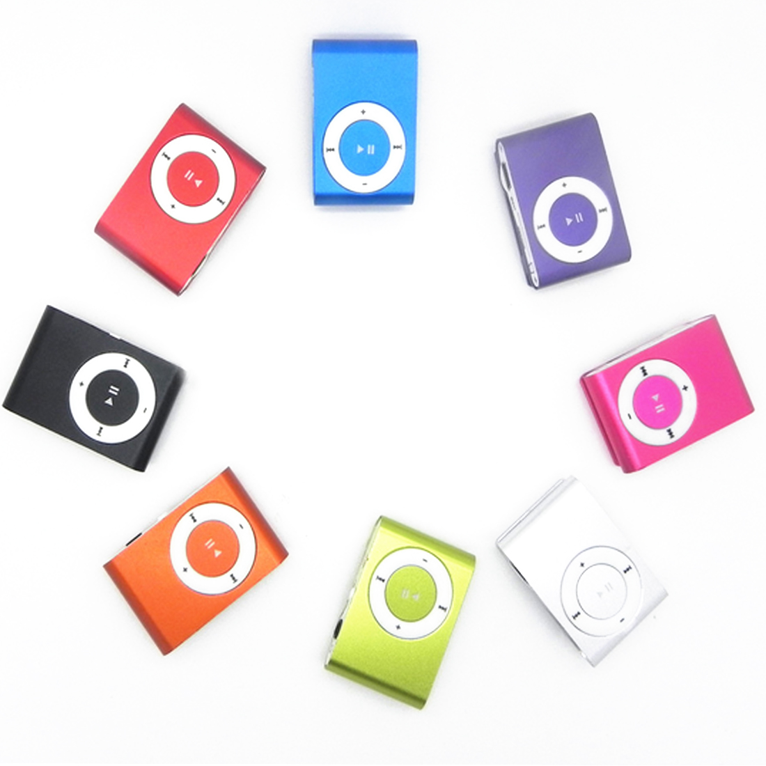 centechia Portable Metal Clip MP3 Player with 8 Candy Colors No Memory Card Music Player with TF Slot image