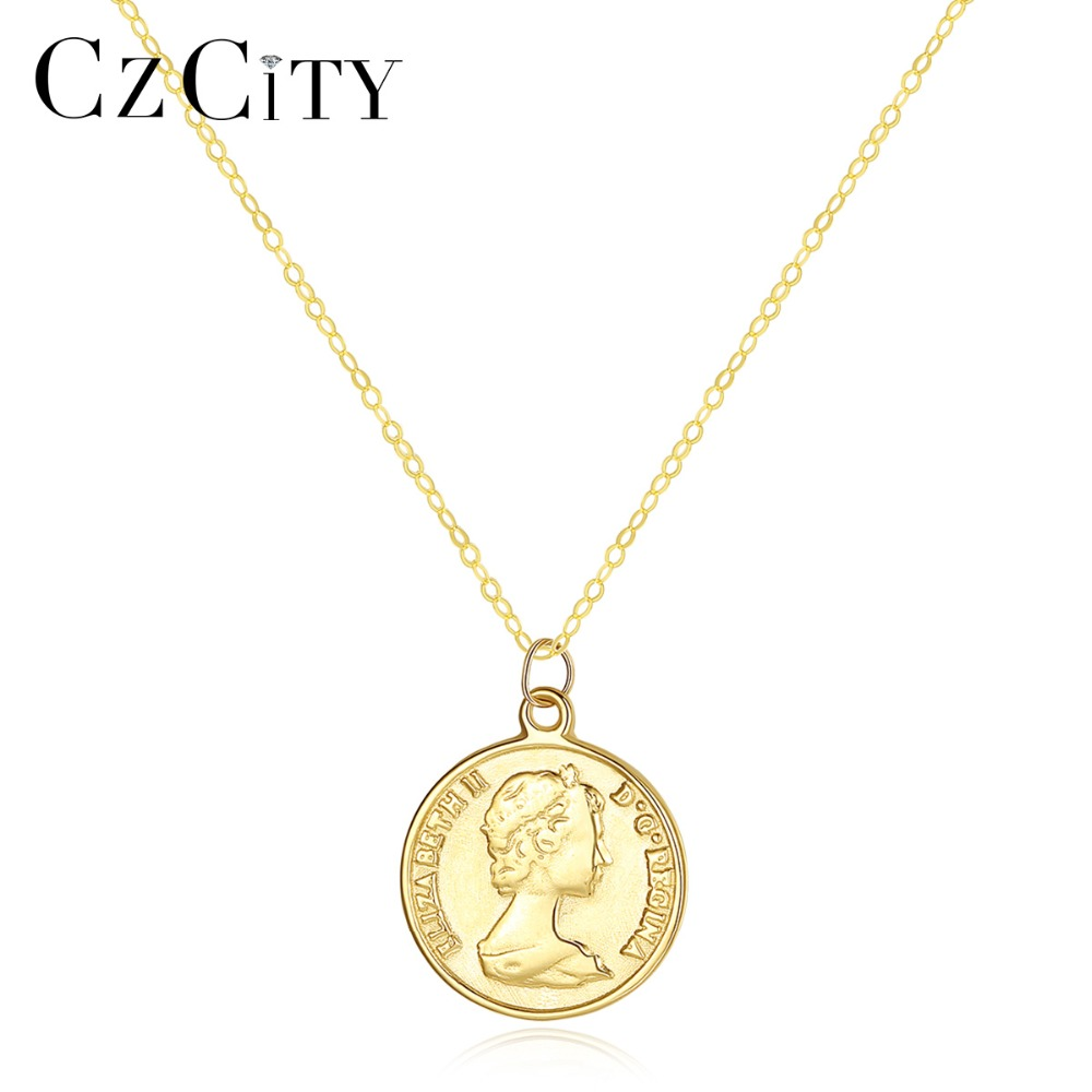 CZCITY Pure 14K Gold Elizabeth Portrait Round Coin Pendant Necklace for Women Charm Long Chain Necklace 14K Yellow Gold Jewelry