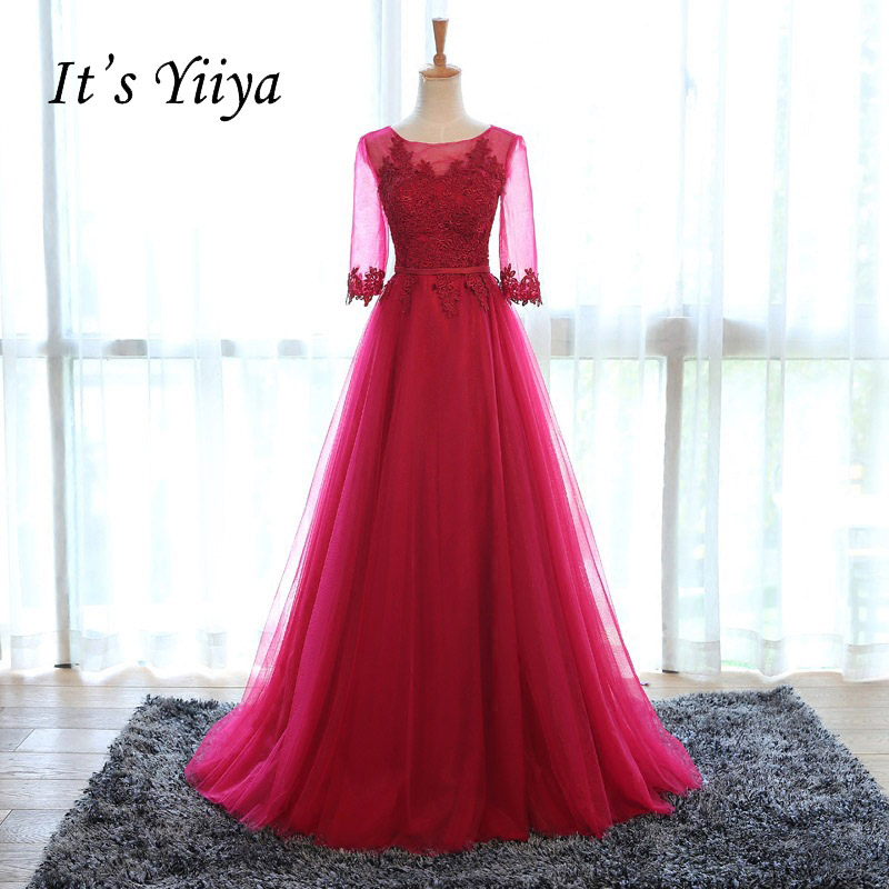 Free Shipping 2016 Half Sleeves Wine Red O-neck Formal Dresses Gowns Sexy Bridesmaid Frocks Long Party Full Dress RQ001(China)