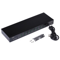 MT 2108RD 8 Port PS/2 KVM Switch Hot Key OSD Menu 1 PS2 Keyboard Mouse Control 8 PCs Rackmount Daisy Chain Support with cable