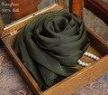 100% Шелк шали шарф для женщин шифон Одеяло Оливково-Зеленый Зимние теплые женские шарфы и шали шарфы Летний Пляж Wrap