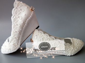 WHITE pearl  wedges med heeled woman wedding shoes bride handmade HS301 luxury plus sizes lace bridal bridesmaid shoes plus size