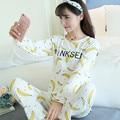 Discount Novo 2016 Outono Inverno Mulheres Pijama Conjuntos de Impressão 90 S Meninas Pijamas Pijamas Das Senhoras Homewear Para Mulheres Camisola Feminina