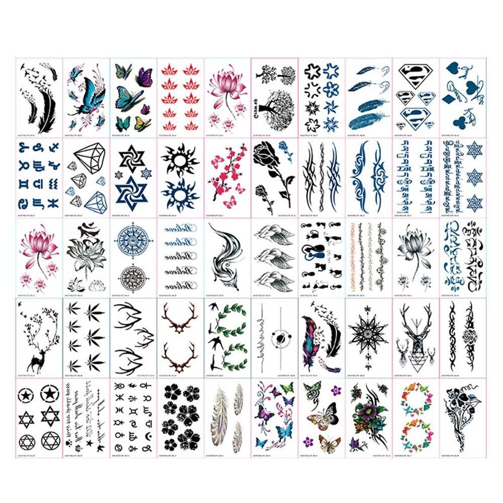 60 PCS Per Set Waterproof Tattoo Sticker Body Art Sticker for Male and Female