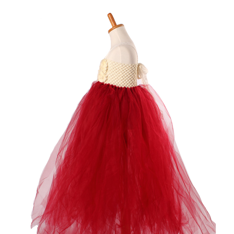 Handmade Shabby Flower Girl Tutu Dress Princess Kids Wedding Tulle Dress for Girls Birthday Party Pageant Ball Gowns Clothes (10)