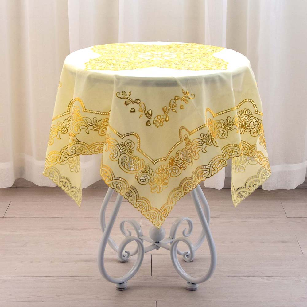 90CM Luxury Square Gold PVC Plastic Waterproof Table Cloth Cover Oilcloth  Tablecloth Towel Home Kitchen Christmas