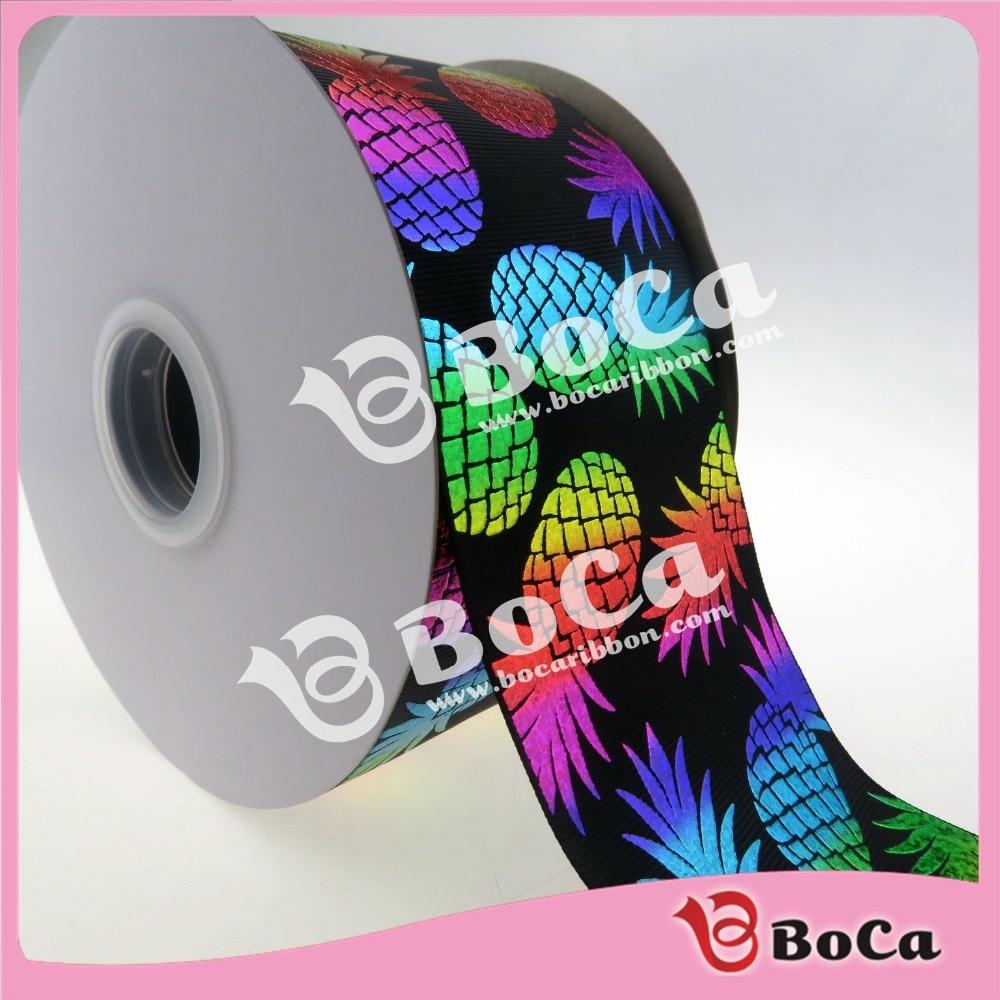 حار بيع 75 ملليمتر (3 بوصة) rainbow المجسم الأناناس مطبوعة grosgrain الشريط مع مخصصة تقبل ، 100 يارد-في شريط الحزام من المنزل والحديقة على  مجموعة 1