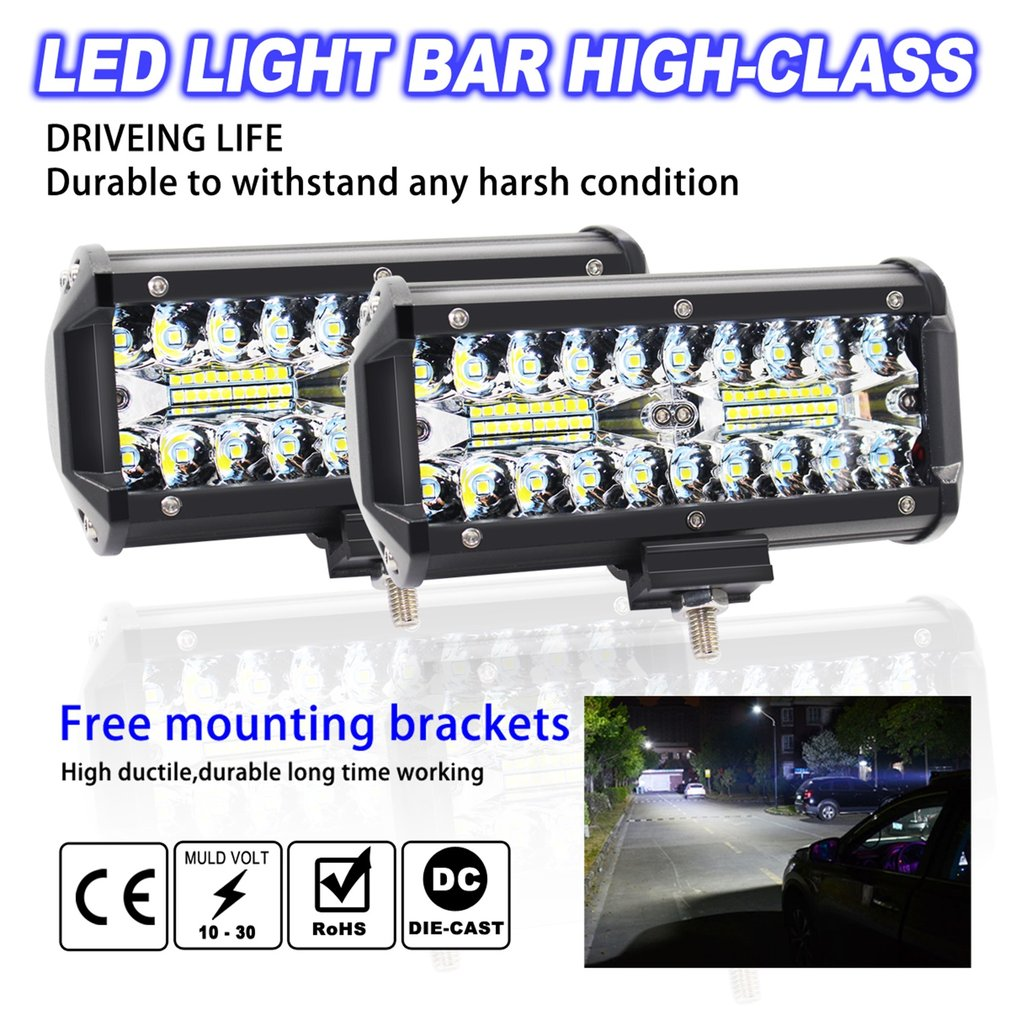 7 inch 120W Car LED Work Light Waterproof LED Spotlight Fog Driving Lighting Lamp for Off Road Truck Car SUV Boat