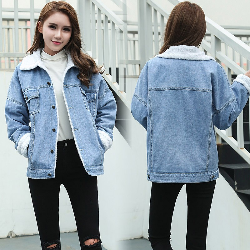 Winter New 2019 Boyfriend Casual thicken Women lambswool Denim Cotton Coat Female Long Sleeve Warm Outwear Denim   Basic     Jacket
